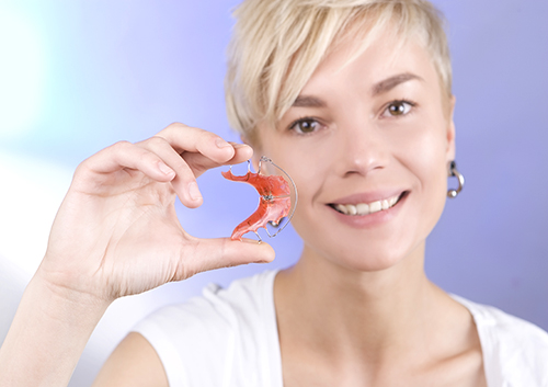 Woman with retainers