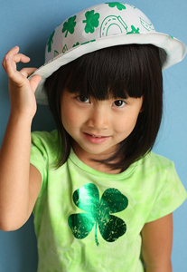 Girl with Green Four Leaf Clover Tshirt