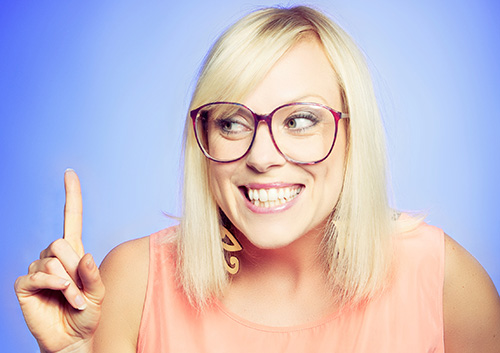 Woman wearing glasses and great smile